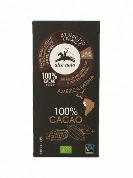 Ciocolată bio 100% cacao Alce Nero 50g