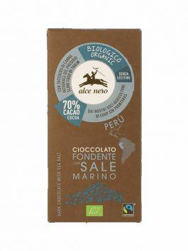 Ciocolată bio cu sare marină 70% cacao Alce Nero 50g