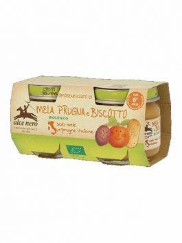 Pastă de mere, prune și biscuiți bio Alce Nero 160g