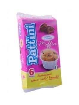 Brioșă cu bucăți de ciocolată Pattini 6 x 42g