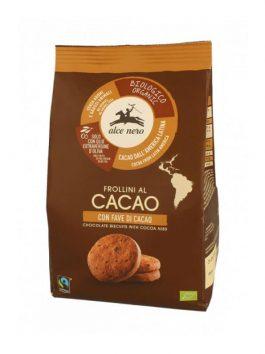 Biscuiți bio cu cacao și boabe de cacao Alce Nero 250g