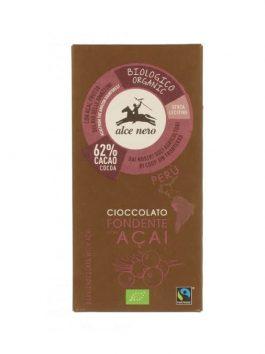 Ciocolată fondantă 62% cu acai bio Alce Nero 50g