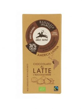 Ciocolată cu lapte și alune de pădure bio Alce Nero 100g