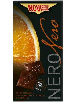 Ciocolată Novi neagră cu portocale și migdale 75g