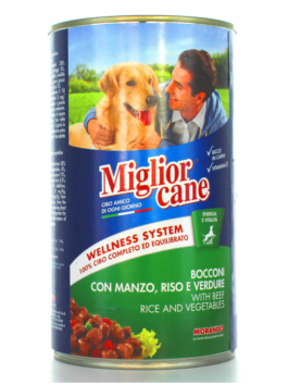 Hrană umedă pentru câini Miglior Cane cu carne de vită, orez și legume 1,250kg