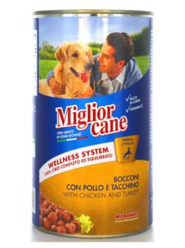 Hrană umedă pentru câini Miglior Cane cu pui și curcan 1,250kg