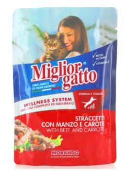 Hrană umedă pentru pisici Miglior Gatto cu carne de vită și morcovi 100g