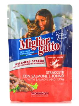 Hrană umedă pentru pisici Miglior Gatto cu somon și ton 100g